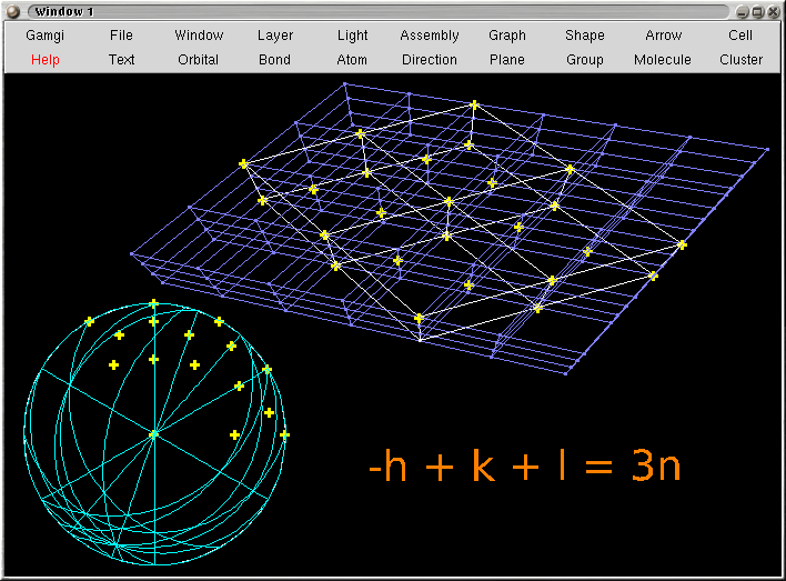 Image showing the reciprocal lattice and stereographic projection of a hR lattice